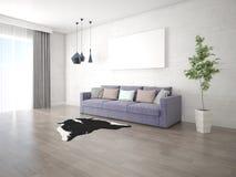 Spot omhoog een modieuze woonkamer met een compacte comfortabele bank Stock Foto's