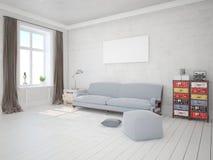 Spot omhoog een modieuze woonkamer met in, functioneel meubilair stock illustratie