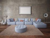 Spot omhoog een perfecte woonkamer met een grote hoekbank Royalty-vrije Stock Foto's