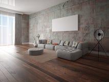 Spot omhoog een ruime woonkamer met een originele hoekbank royalty-vrije illustratie