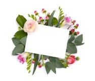 Spot omhoog met bloemen op wit worden geïsoleerd dat Het ruimtegebied van het exemplaar royalty-vrije stock afbeeldingen