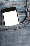 Spot omhoog met moderne smartphone in jeanszak stock fotografie