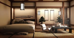 Spot omhoog - moderne woonkamer, Japanse stijl het 3d teruggeven vector illustratie