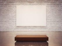 Spot omhoog van leeg canvas en witte muur 3d geef terug Royalty-vrije Stock Fotografie