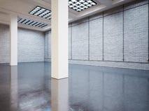 Spot omhoog van lege galerij, witte bakstenen 3d geef terug Stock Afbeeldingen