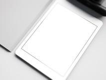 Spot omhoog van witte tablet op de werkruimte 3d Royalty-vrije Stock Afbeelding