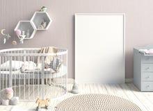 Spot op affiche in binnenland van het kind slaapplaats modern Stock Foto