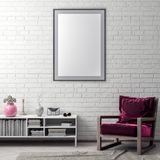 Spot op affichekader in hipster binnenlandse achtergrond en bakstenen muur, 3D illustratie Royalty-vrije Stock Fotografie