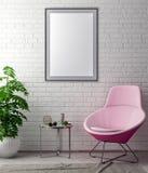 Spot op affichekader in hipster binnenlandse achtergrond en bakstenen muur, 3D illustratie Royalty-vrije Stock Foto