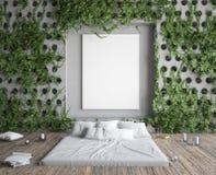 Spot op affichekader in hipsterslaapkamer Bed in vloer en klimop op concrete muren Stock Fotografie