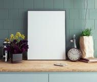 Spot op affichekader in keuken binnenlands close-up als achtergrond Royalty-vrije Stock Foto