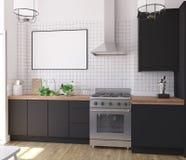 Spot op affichekader in keuken binnenlandse, Skandinavische stijl royalty-vrije stock afbeelding