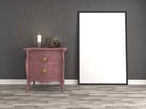 Spot op affichekader op binnenlandse achtergrond 3D Illustratie Royalty-vrije Stock Afbeeldingen