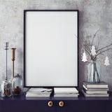 Spot op affichekader op hipster binnenlandse achtergrond, christamasdecoratie, Stock Foto's