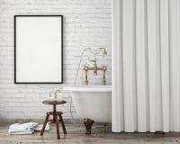 Spot op affichekader in uitstekende hipsterbadkamers, binnenlandse achtergrond, Royalty-vrije Stock Fotografie