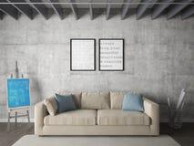 Spot op affichewoonkamer met twee modieuze kaders royalty-vrije illustratie