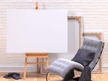 Spot op canvaskader met grijze leunstoel, schildersezel, vloer en muur 3d