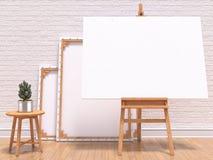 Spot op canvaskader met installatie, schildersezel, vloer en muur 3d geef terug Royalty-vrije Stock Afbeeldingen