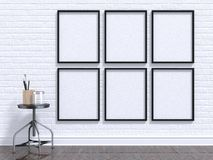 Spot op fotokader met lijst, vloer en muur 3d Stock Foto's