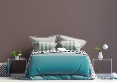 Spot op muur in slaapkamerbinnenland Slaapkamer Skandinavische stijl 3d stock illustratie