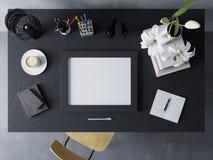 Spot op ontwerpsjabloon om kunstwerk van lege affiche in moderne werkruimte in horizontaal kader te demonstreren die op opgepoets stock illustratie