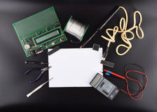 Spot op voorwerpen zoals industriële controlemechanismen Stock Foto's
