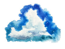 Spot sky grainy watercolor cumulus cloud. Hand brush painting watercolor clouds element sky Stock Photography