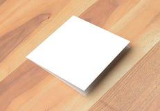 Spot van de Bifold de vierkante brochure omhoog op houten achtergrond 3D illustra Stock Foto