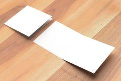 Spot van de Bifold de vierkante brochure omhoog op houten achtergrond 3D illustra Royalty-vrije Stock Foto's