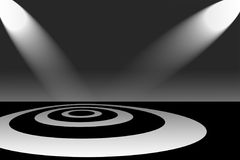 Spotlights on Circle Pattern. Two spotlights shining down on a stage with a target pattern of concentric circles or rings Vector Illustration