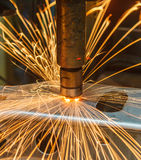 Spot welding. Industrial, automotive spot welding in factory Royalty Free Stock Image