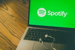 Spotify logo on computer screen. Dallas, Texas/ United States - 06/7/2018: Photograph of the Spotify logo on computer screen royalty free stock photography