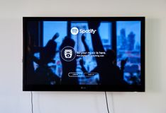 Spotify logo and login page on LG TV screen. MONTREAL, CANADA - NOVEMBER 15, 2017: Spotify logo and sign in page on LG TV screen. Spotify is a music, podcast Royalty Free Stock Image