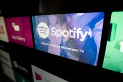 Spotify is most popular music service. Wroclaw, Poland - JAN 10, 2019: Spotify is most popular music streaming service on Android TV devices stock image