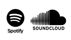 Spotify and Soundcloud icon printed on paper. stock illustration