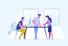 Spotkań ludzie biznesu Praca zespołowa Dyskusja firmy ` s strategia biznesowa Wektorowa ilustracja w płaskim stylu royalty ilustracja