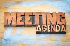 Spotkanie agendy sztandar w letterpress drewna typ Obrazy Royalty Free