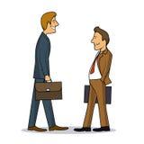 Spotkanie dwa biznesmenów colourful karykatura ilustracja wektor