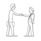 Spotkanie dwa biznesmenów monochromatyczna karykatura ilustracji