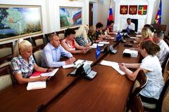 Spotkanie dzielnicowa rada Zlany Rosja przyjęcie w Krasnodar zdjęcia stock