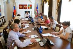 Spotkanie dzielnicowa rada Zlany Rosja przyjęcie w Krasnodar zdjęcie stock