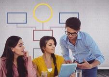 Spotkanie grupowe i kolorowa umysł mapa nad popielatym tłem Obraz Royalty Free