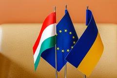 Spotkanie ministrowie spraw zagranicznych Ukraina i Węgry obraz stock