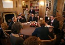 Spotkanie na ASEM szczycie Europejscy i Azjatyccy lidery Obrazy Royalty Free