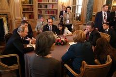 Spotkanie na ASEM szczycie Europejscy i Azjatyccy lidery Obrazy Stock
