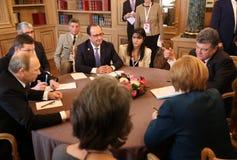 Spotkanie na ASEM szczycie Europejscy i Azjatyccy lidery Fotografia Royalty Free