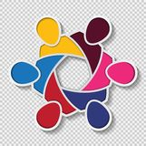spotkanie pracy zespołowej loga izbowi ludzie Grupa sześć persons w okręgu Zdjęcia Royalty Free
