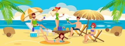 Spotkanie przyjaciele i relaksować na plaży ilustracja wektor