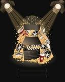 In the spotlight. Movie items Royalty Free Stock Photos
