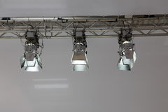 Spotlight. Three spotlight on metal frame Royalty Free Stock Image